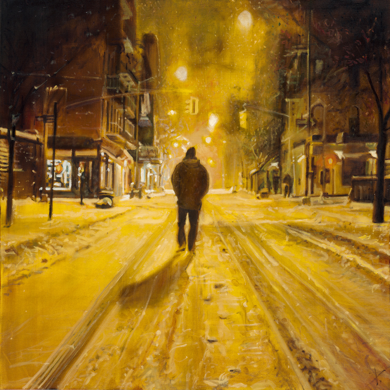 Snow man, oil on canvas, 100x100cm